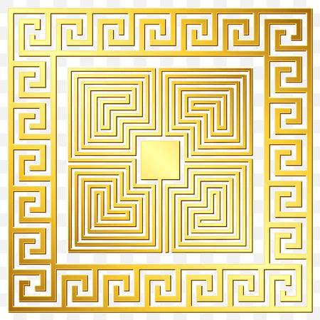 Ornamento grego quadrado dourado do vintage tradicional, meandro e teste padrão floral no fundo transparente. Padrão de ouro para azulejos decorativos Foto de archivo - 88047889
