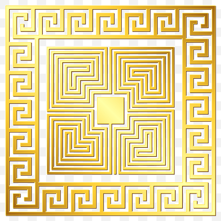 Traditional vintage Golden square Greek ornament, Meander and floral pattern on transparent background. Gold pattern for decorative tiles Illustration