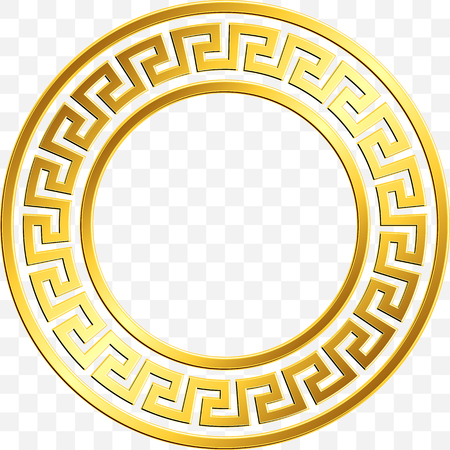 Round frame with traditional vintage Golden Greek ornament, Meander pattern on transparent background. Gold pattern for decorative tiles Illustration