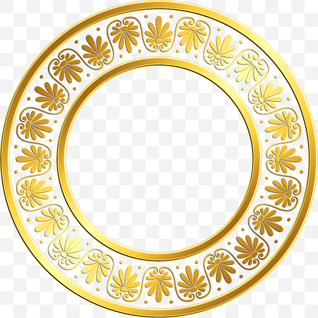 Round frame with traditional vintage Golden Greek ornament, Meander pattern on transparent background. Gold pattern for decorative tiles Illustration