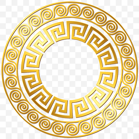 Round frame with traditional vintage Golden Greek ornament, Meander pattern on transparent background. Gold pattern for decorative tiles Vettoriali