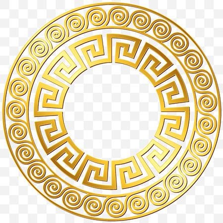Runder Rahmen mit goldener griechischer Verzierung der traditionellen Weinlese, Windungsmuster auf transparentem Hintergrund. Goldmuster für dekorative Fliesen Standard-Bild - 88047890