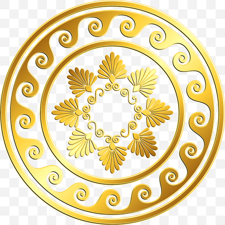 Traditional vintage Golden round Greek ornament, Meander and floral pattern on transparent background. Gold pattern for decorative tiles