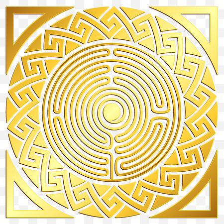 Traditional vintage Golden round Greek ornament, Meander and floral pattern on transparent background. Gold pattern for decorative tiles