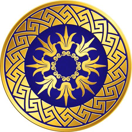 Traditional vintage Golden round Greek ornament, Meander and floral pattern on blue background . Gold pattern for decorative tiles, plates Illustration