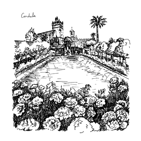 Blooming gardens and fountains of Alcazar de los Reyes Cristianos, royal palace of the cristian kings, in Cordoba, Andalusia, Spain. Picture made liner