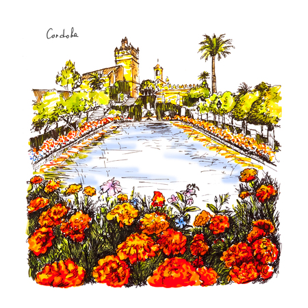 Blooming gardens and fountains of Alcazar de los Reyes Cristianos, royal palace of the cristian kings, in Cordoba, Andalusia, Spain. Picture made liner and markers Banco de Imagens