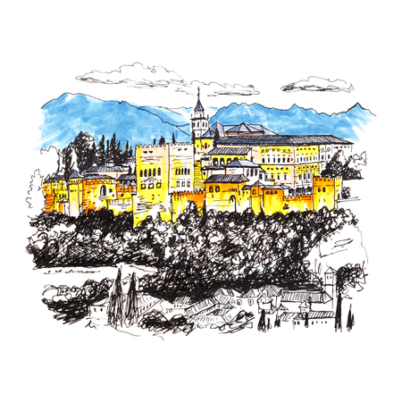 alhambra: Moorish palace and fortress complex Alhambra in Granada, Andalusia, Spain. Picture made liner and markers