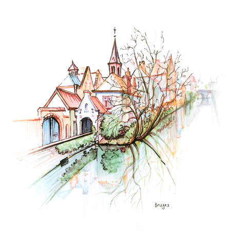 Scenic city view of Bruges canal with beautiful medieval houses and church, Belgium. Picture made markers