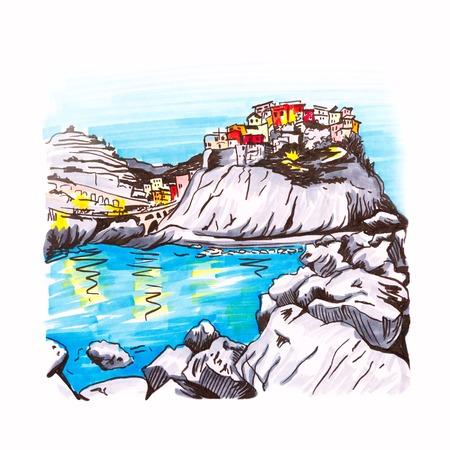 다채로운 주택과 Manarola 어촌 마 Cinque Terre 국립 공원, 리구 리아 주, 이탈리아에서에서 아름 다운보기. 그림 만든 마커