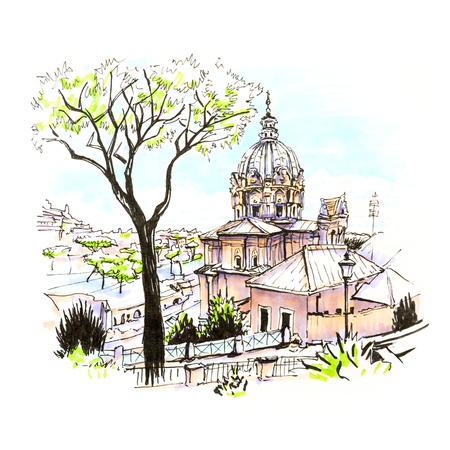 Scenic city view of Typical Roman church and Stone pine trees in the old city in Rome, Italy. Picture made markers