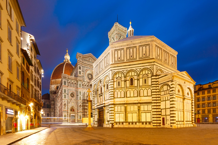 Famous Duomo Santa Maria Del Fiore and Baptistery on the Piazza del Duomo in the morning in Florence, Tuscany, Italy