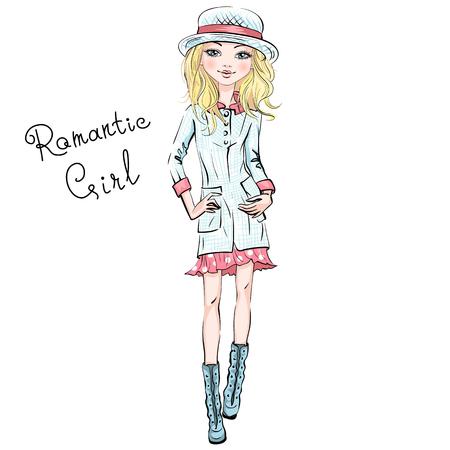Vector modelos superiores de la hermosa chica de moda hipster en ropa de otoño, sombrero y botas, chaqueta y falda