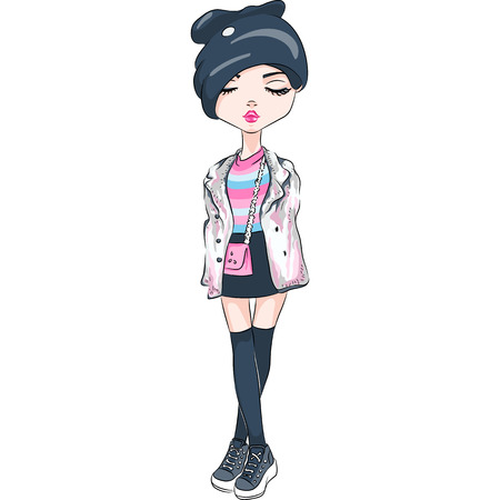 Vector beautiful fashion hipster girl in autumn clothes, sneakers, jacket and skirt with bag