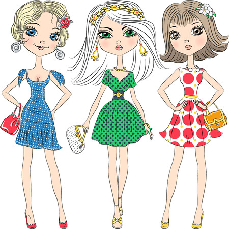 Set beautiful fashion girls top model in elegant dresses with polka dot pattern and with clutches