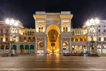 One of the worlds oldest shopping malls Galleria Vittorio Emanuele II at night in Milan, Lombardia, Italy