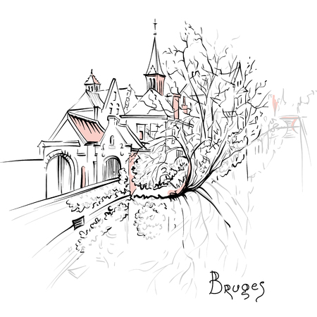 Scenic city sketch, view of Bruges canal with beautiful medieval houses and church, Belgium.