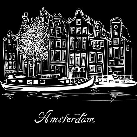 De stadsmening van het kanaal van Amsterdam, typische Nederlandse huizen en boten, Holland, Nederland overhandigt getrokken in witte kleur op zwarte achtergrond.