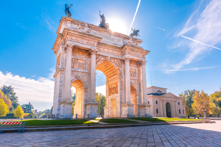 Arch of Peace, or Arco della Pace, city gate in the centre of the Old Town of Milan in the sunny day, Lombardia, Italy.