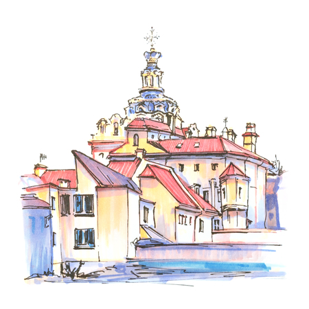 Color hand drawing, Typical street in Old Town of Vilnius, Lithuania. Picture made liner and markers Zdjęcie Seryjne