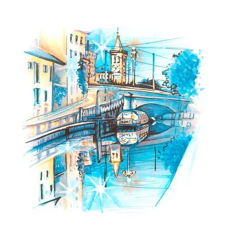 Brug over het Naviglio Grande-kanaal bij zonsopgang, Milaan, Lombardia, Italië. Schets gemaakt voering en markeringen