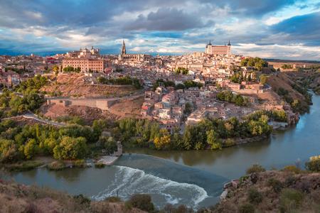Aerial view of Old city of Toledo and river Tajo in the overcast day, Castilla La Mancha, Spain Stock Photo
