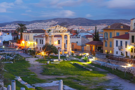 Gate of Athena Archegetis and remains of the Roman Agora built in Athens during the Roman period, Athens, Greece