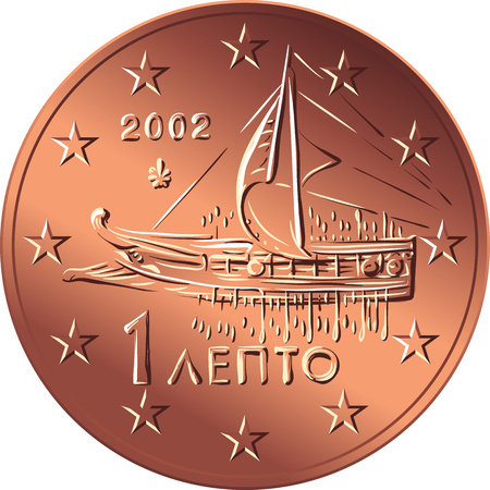 Greek money bronze coin one euro cent with the image of An Athenian trireme of the 5th century Illustration