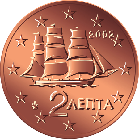 Greek money bronze coin two euro cent with the image of A corvette of the early 19th century