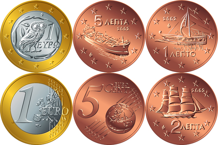 Set Greek money gold and bronze coin illustration on white background.