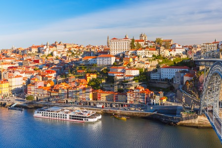 Picturesque panoramic aerial view of Old town of Porto, Ribeira and Douro River in the morning, Portugal