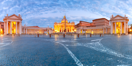 Panoramic view of The Papal Basilica of St. Peter in the Vatican or Saint Peter Cathedral during morning blur hour in Rome, Italy. Stock Photo