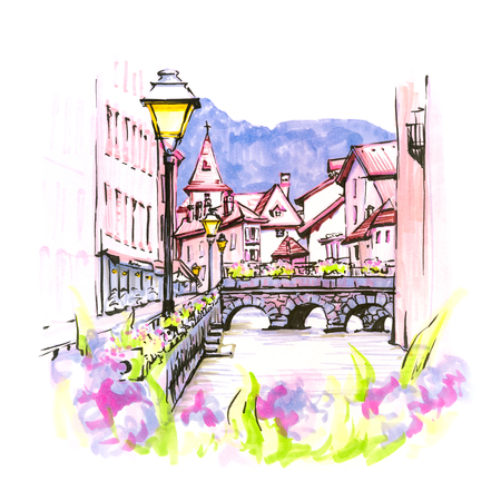 Color hand drawing, city view of the Palais de lIsle and Thiou river in old city of Annecy, Venice of the Alps, France. Picture made markers