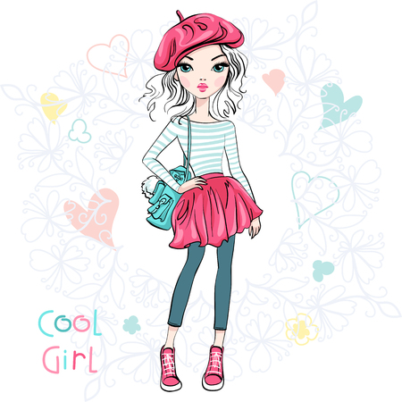 Cute beautiful girl in a summer skirt and blouse, hat beret and with backpack.