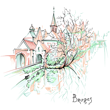 Vector scenic city sketch, view of Bruges canal with beautiful  houses and church, Belgium