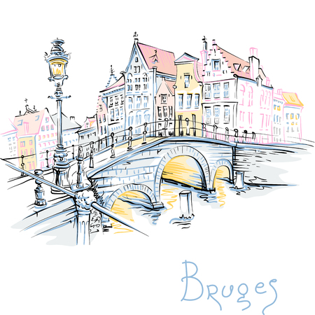 Croquis de ville couleur pittoresque vecteur, vue sur le canal de Bruges et le pont avec de belles maisons médiévales, Belgique Vecteurs