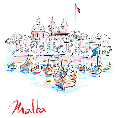 Vector hand drawing of traditional eyed colorful boats Luzzu and church in the Harbor of Mediterranean fishing village Marsaxlokk, Malta Stock Vector - 101083630