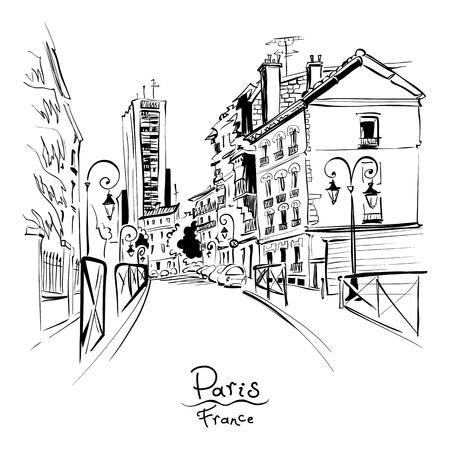 Dessin à la main de vecteur noir et blanc. Rue de Paris avec des maisons traditionnelles et des lanternes, Paris, France. Vecteurs