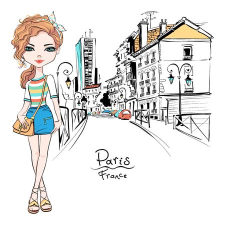 Vector mooie mode hipster meisje in zomer kleding, t-shirt en rok met tas op straat van Parijs, Frankrijk