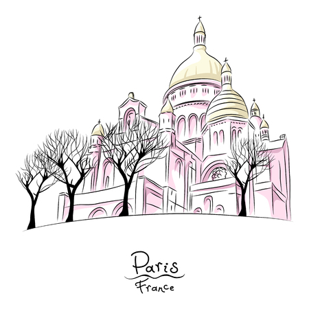 Vector hand drawing sketch of urban landscape with church of Sacre Coeur in Paris, France