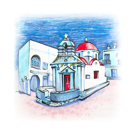 Picturesque view of Agia anna Church, typical Greek church building on the island Mykonos, The island of the winds, Greece. Picture made markers