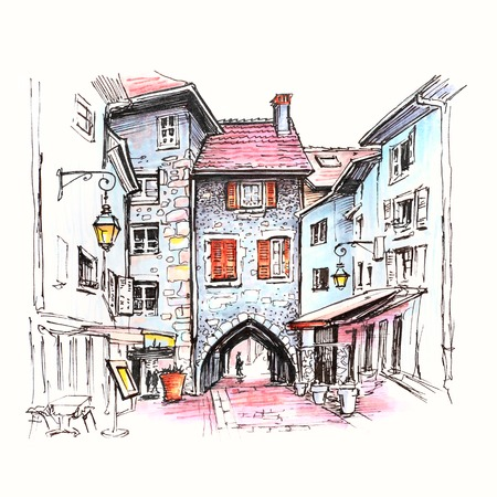 Color hand drawing, city view with Gorgeous medieval arch gate Sepulchre Gate on the street Rue Sainte-Claire in Old Town of Annecy, France. Picture made markers
