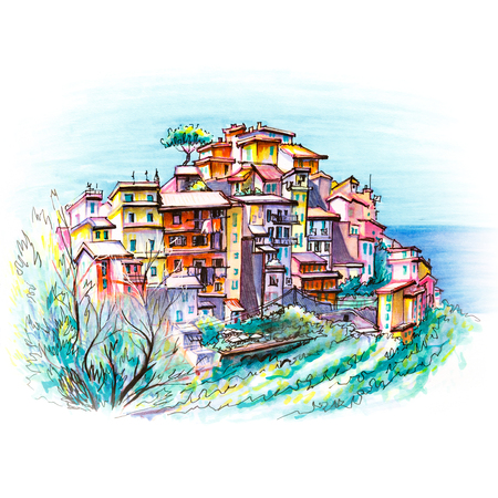Picturesque view of colorful houses in Corniglia fishing village in Five lands, Cinque Terre National Park, Liguria, Italy. Picture made markers