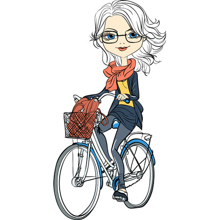 Cute beautiful fashionable girl riding a bike
