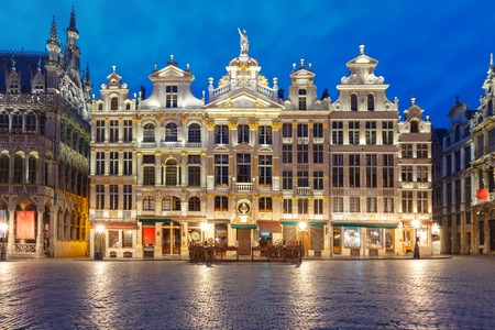 Beautiful houses of the Grand Place Square at night in Belgium, Brussels. From right to left LEtoile, Le Cygne, LArbre dor, La Rose, Le Mont Thabor Stock Photo