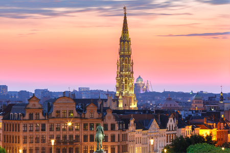 Brussels City Hall and Mont des Arts area at sunset in Belgium, Brussels. Stock Photo