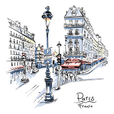 Vektorhandzeichnung. Pariser Straße mit traditionellen Häusern und Laternen, Paris, Frankreich.