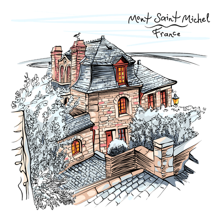 colour hand drawing, a traditional Breton house inside the walls of Mont Saint-Michel, Brittany, France. Stock Photo