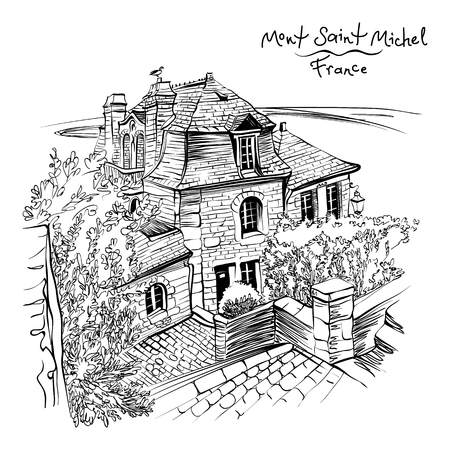 black and white drawing, a traditional Breton house inside the walls of Mont Saint-Michel, Brittany, France. Stock Photo