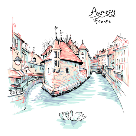 Color hand drawing, city view of the Palais de lIsle and Thiou river in old city of Annecy, Venice of the Alps, France.